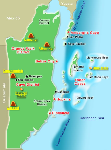 Escape To Belize - Belize map belmopan